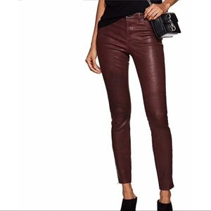 J BRAND L8001 Mid-Rise Super-Skinny Leather Jeans